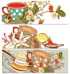 Backgrounds set with cups of tea or coffee