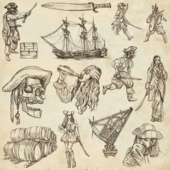 pirates (no.1) - an hand drawn collection on old paper