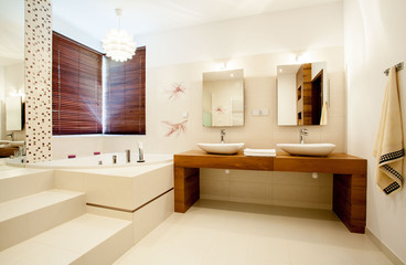 Spacious bathroom in modern house