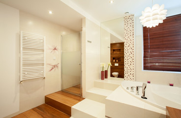 Interior of wooden bathroom