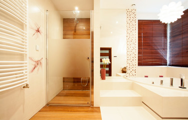 Modern wooden shower in bathroom