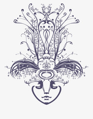 Mask in the style of Art Nouveau.
