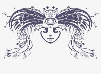 Mask. Art Nouveau style.