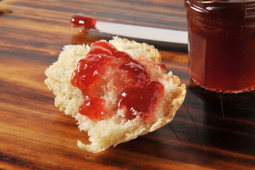 Fresh baked bread and jam