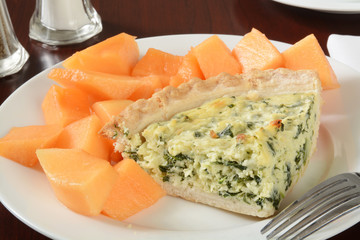 Quiche and cantaloupe