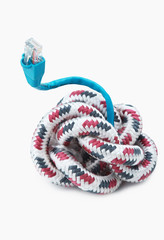 A rope with a cable on white