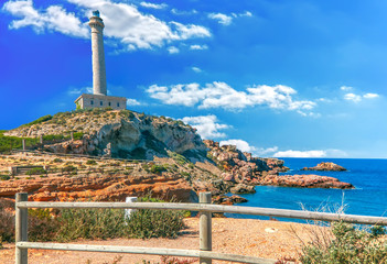 Cabo de Palos Lighthouse on La Manga, Murcia, Spain.