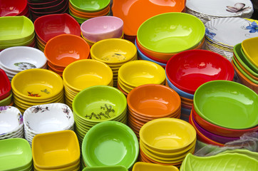 colorful dishes in asia market bazaar, New Delhi