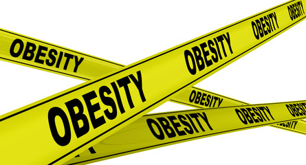 Ожирение (obesity). Желтая оградительная лента