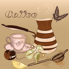 Coffee background with cup of coffee