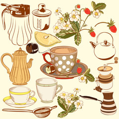 Collection of vector hand drawn tea and coffee accessories for d