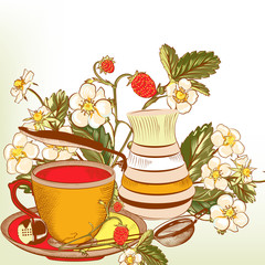 Cute vector background with cup of tea or coffee and strawberry