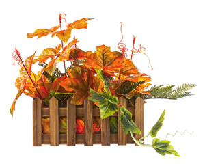 Autumn composition from artificial leaves in wooden box isolated