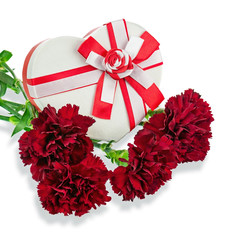 Gift Box in Shape of Heart and Bouquet from Carnations.
