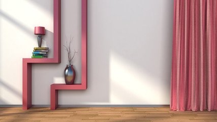 room with red curtains and shelf with lamp. 3D illustration