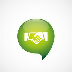 Handshake icon green think bubble symbol logo.