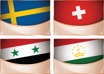 Flags illustration, Sweden, Switzerland, Syria, Tajikistan
