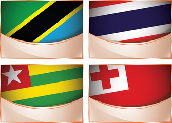 Flags illustration, Tanzania, Thailand, Togo, Tonga