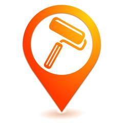 rouleau de peinture sur symbole localisation orange
