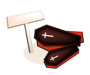 Illustration of Black Coffins with Wooden Placard