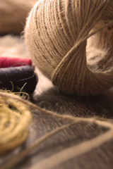 Red and blue Thread and twine. Materials for hand crafts