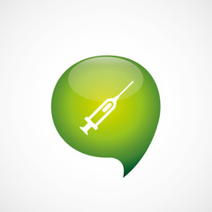 syringe icon green think bubble symbol logo.