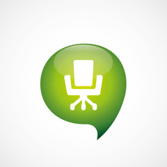 Office chair icon green think bubble symbol logo.