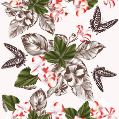Floral seamless wallpaper pattern with flowers and butterflies