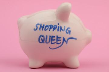 """Rosa Hintergrund Sparschwein """"shopping queen"""""""