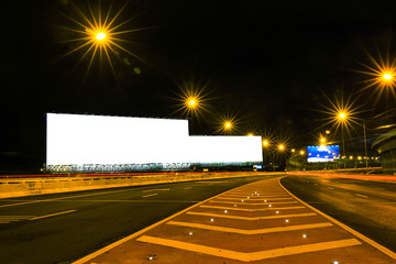 Blank billboard for advertisement at night