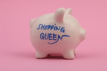 """""""shopping queen"""" Sparschwein, rosa Hintergrund"""