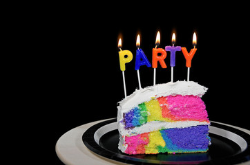 rainbow birthday cake with party candles