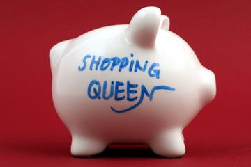 """weißes Sparschwein """"shopping queen"""""""