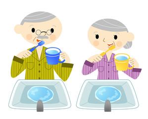 歯を磨く老夫婦