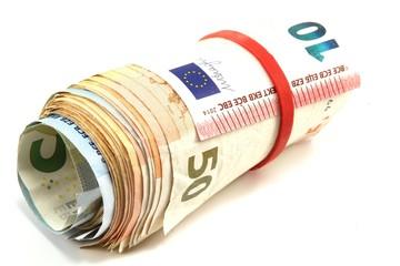 Euro  eingerollt und gebunden - isoliert