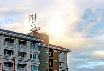 Apartment building on blue sky