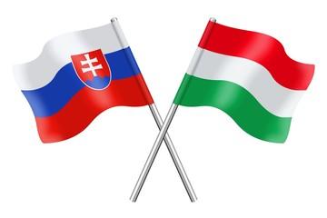 Flags: Slovakia and Hungary