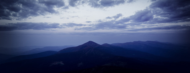 Hoverla peak at dusk. Eastern Carpathians