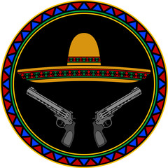 sombrero and two pistols. second variant