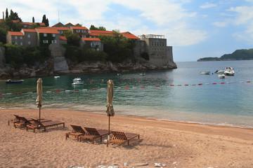 Beach near the island Sveti Stefan, Montenegro