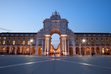 Rua Augusta Arch at Dusk in Lisbon