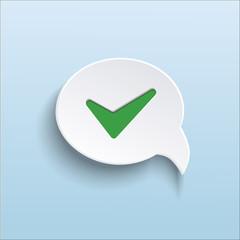 green check mark on speech bubble
