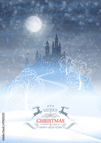 Christmas Winter Castle Moonlight Sky - 71425251