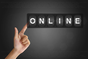 hand pushing online on Flip Board