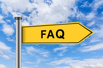 yellow road sign with FAQ or Frequently asked question words