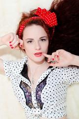 Pretty rockabilly redhead girl