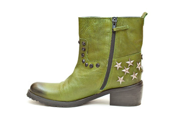 Women's fashion boots green in cowboy style. Autumn shoes