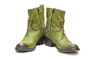 Women's fashion boots green in cowboy style