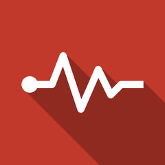 cardiogram icon with long shadow