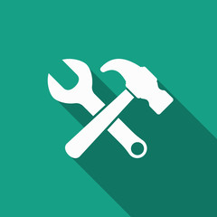 hammer wrench icon with long shadow